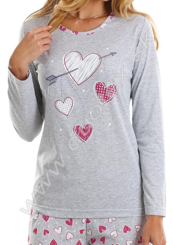 6631c6d17 dámske bavlnené pyžamo s dlhým rukávom vyrobené zo 100% bavlny, všívaná  guma v páse nohavíc